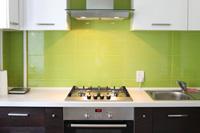 Kitchen with Green Backsplash