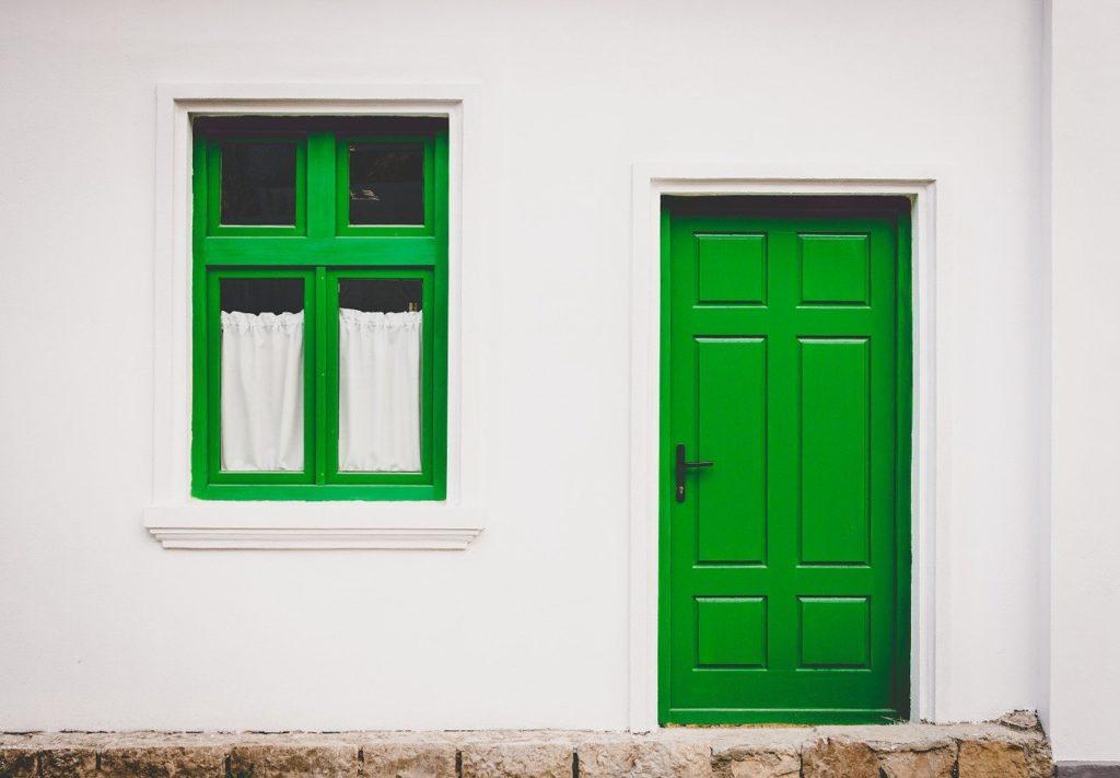 Green window and green door